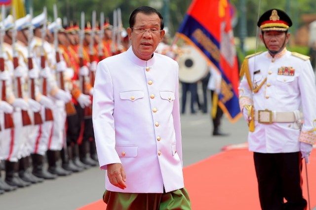 HUN SEN. Cambodian Prime Minister Hun Sen has in recent weeks turned up the rhetoric against his government's critics. File photo by Tang Chhin Sothy/AFP