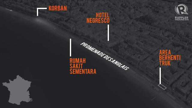 PETA LOKASI. Peta yang menggambarkan lokasi kejadian teror truk menabrak kerumunan warga Perancis dan menewaskan puluhan orang. Ilustrasi oleh Rappler