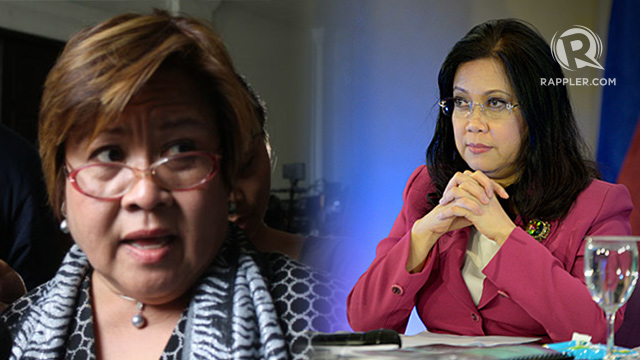 WHAT'S TAKING IT SO LONG? Then Justice Secretary Leila De Lima and Chief Justice Maria Lourdes Sereno explain their respective institution's progress. File photo by Rappler