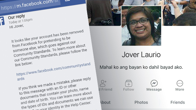 SUSPENDED. The Facebook account of Jover Laurio, the woman behind Pinoy Ako Blog, is suspended. Photo from Pinoy Ako Blog's Twitter account