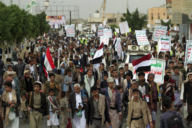 SUPPORT. Supporters of Yemen's Huthi rebels rally against the ongoing Saudi-led military coalition blockade in Yemen's capital Sanaa on August 9, 2019. Photo by Mohammed Huwais/AFPu00e2u0080u00a8