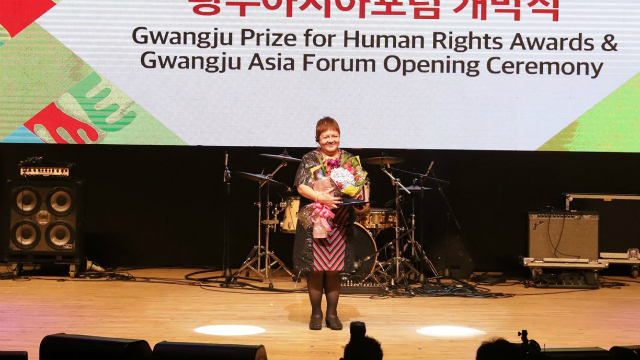 RIGHTS. Joanna Cariu00f1o receives the Gwangju Prize for Human Rights. Photo from the The May 18 Memorial Foundation