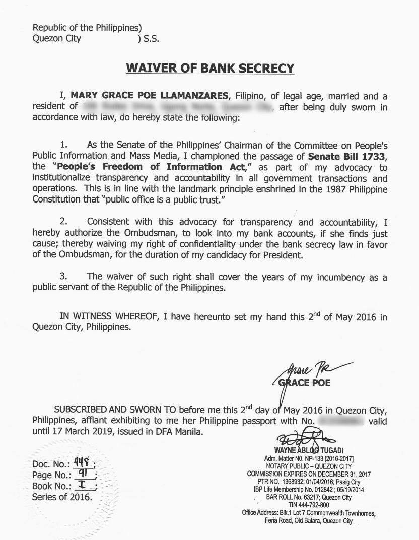 WAIVER. Presidential bet Grace Poe signs a waiver on bank secrecy on Monday, May 2.