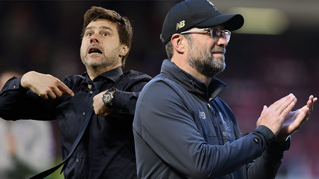 GRAND PRIZE. Tottenham manager Mauricio Pochettino (left) and Liverpool coach Jurgen Klopp battle it out for the prize of their careers. Photo by Adrian Dennis/AFP (Pochettino) and Paul Ellis/AFP (Klopp)