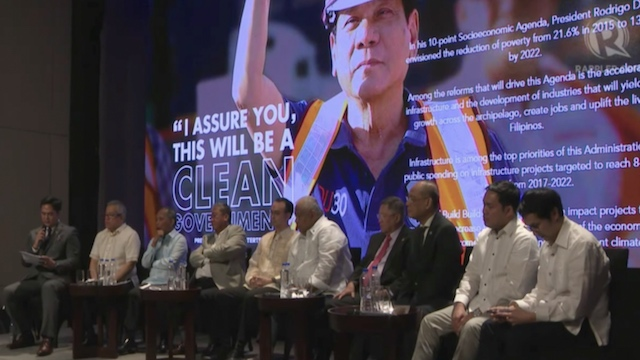 NATION BUILDING. Members of President Duterte's Cabinet gather to explain their infrastructure plans at the second Dutertenomics forum held on April 29. Screenshot from Dutertenomics livestream