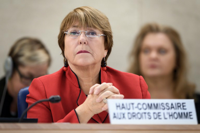 BETTER DRUG POLICIES. UN rights chief Michelle Bachelet urges the Philippine government to employ better drug policies. Photo by Fabrice Coffrini/AFP