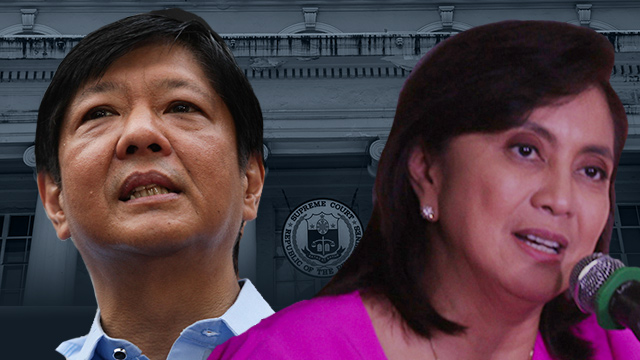 SUB JUDICE VIOLATION. Vice President Leni Robredo and ex-senator Bongbong Marcos were fined by the High Court for breaking the sub judice rule. File photos by Rappler