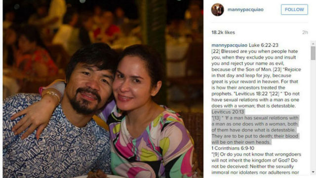 NEW ISSUE? Manny Pacquiao goes on Instagram but deletes his post after. Screengrab from ABS-CBN