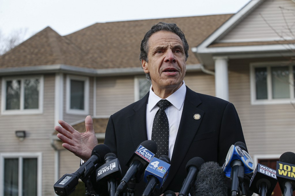'ACT OF TERRORISM.' New York Governor Andrew Cuomo speaks to the media outside the home of rabbi Chaim Rottenbergin Monsey, in New York on December 29, 2019 after a machete attack that took place earlier outside the rabbi's home during the Jewish festival of Hanukkah in Monsey, New York. Photo by Kena Betancur/AFP