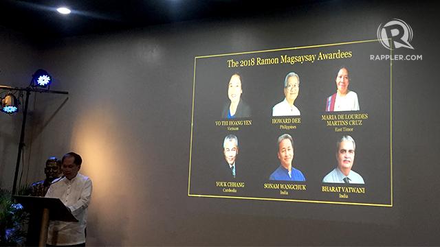 2018 AWARDEES. The Ramon Magsaysay Award Foundation announces this year's awardees on July 26, 2018. Photo by Sofia Tomacruz/Rappler