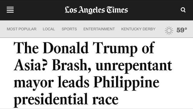 TRUMP SIMILARITIES. International news compares Rodrigo Duterte to Donald Trump. Screenshot from LA Times