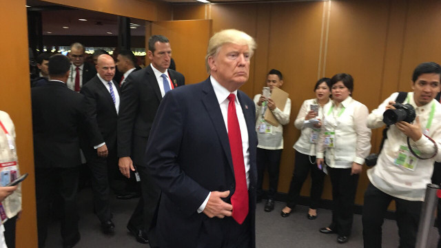 TALKING TRADE. US President Donald Trump strides into the room where he holds a bilateral meeting with President Duterte. MPC pool photo