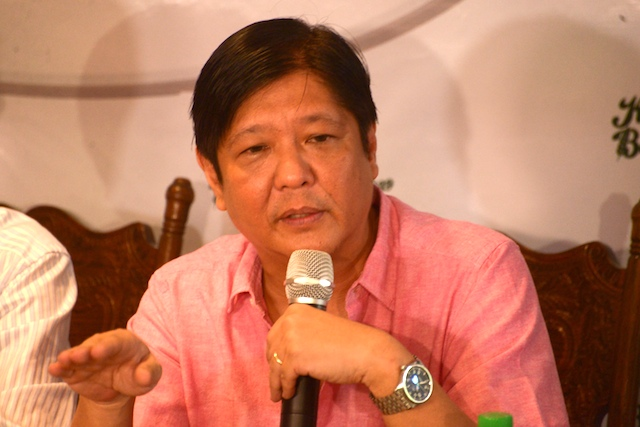 VICE PRESIDENTIAL BID. Senator Ferdinand 'Bongbong' Marcos Jr says Filipinos are more concerned about current problems and these are what he would address, in a forum on October 7, 2015. Photo by Jansen Romero/Rappler