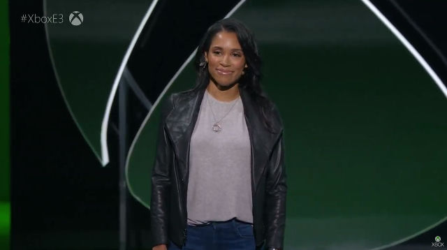 SARAH BOND. Sarah Bond, Microsoft's head of Xbox partnerships goes on stage. Screenshot from livestream.