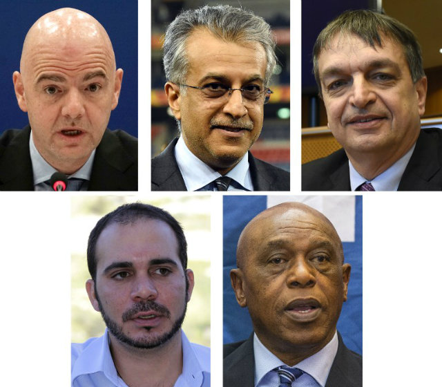 FIFA 5. (From top L) UEFA secretary general Gianni Infantino, AFC president Sheikh Salman bin Ebrahim Al Khalifa, former FIFA deputy general secretary Jerome Champagne, FIFA vice president for Asia Prince Ali bin al-Hussein of Jordan and chairman of the FIFA monitoring committee for Israel and Palestine Tokyo Sexwale are the confirmed final 5 candidates to run for the FIFA presidency. File Photos from AFP