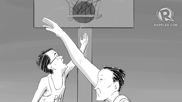 'PUSO.' Taking his cue from the Philippine basketball team Gilas, Foreign Secretary Alan Peter Cayetano says 'puso' is the Philippines' advantage over China. Illustration by Alejandro Edoria/Rappler