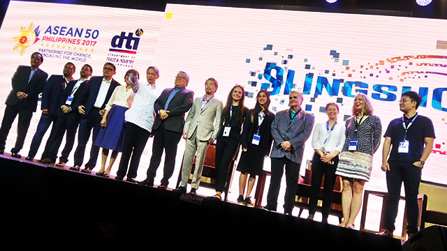 SLINGSHOT. DTI officials and angel investors pose during ASEAN Slingshot event launch at the Philippine International Convention Center. Photo by Keb Cuevas/Rappler