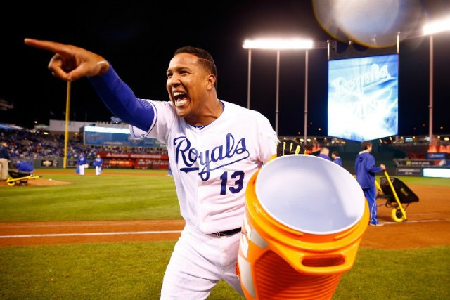 HOME ADVANTAGE. Salvador Perez of the Kansas City Royals celebrates after defeating the New York Mets 7-1 in Game 2 of the 2015 World Series. Photo by Jamie Squire/Getty Images/AFP