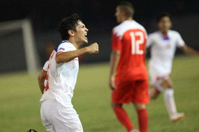 Misagh Bahadoran celebrates after scoring the 1-0 goal. Photo by Josh Albelda/Rappler