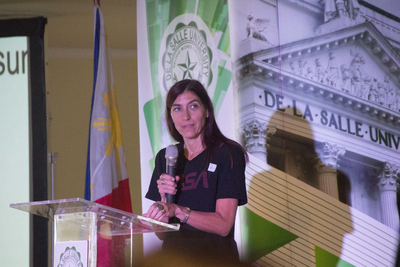 SPEECH. Biological oceanographer Dr Paula Bontempi delivers her remarks at the event She is the acting deputy director of the Earth Science Mission, NASA's Science Mission Directorate and the current leader of the Space Apps global organizing team. Photo from DLSU