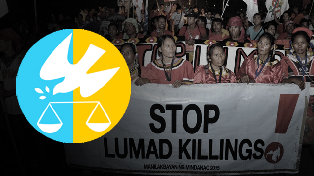 NO TO LUMAD KILLINGS. CHR condemns the violations of the rights of Lumads.