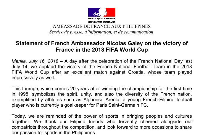 Official Statement of French Ambassador Nicolas Galey on the victory of France in the 2018 FIFA World Cup