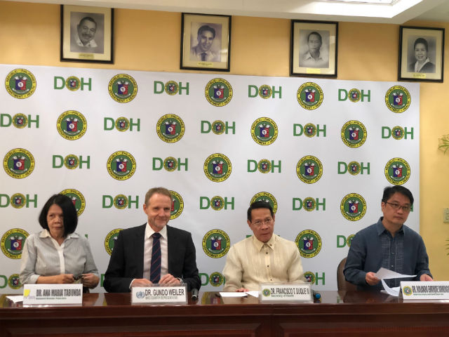 HEALTH CARE. (L-R) Pulse Asia Research Director Ana Tabunda, WHO country representative Gundo Weiler, Health Secretary Francisco Duque, Health Undersecretary Enrique Domingo at a press conference at the DOH November 5, 2018. Photo by Sofia Tomacruz/Rappler