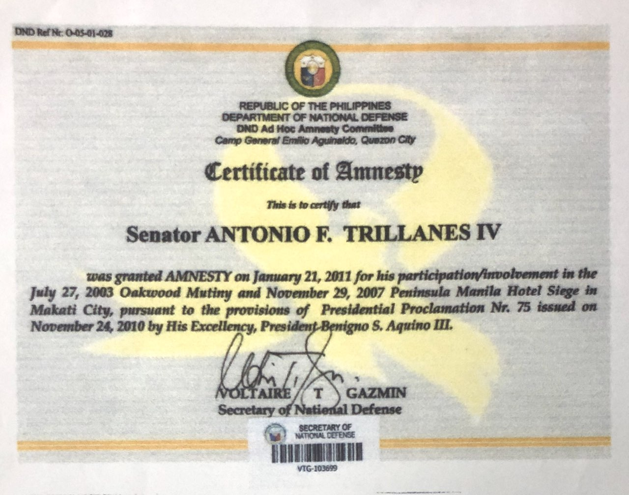Photo from Trillanes' office