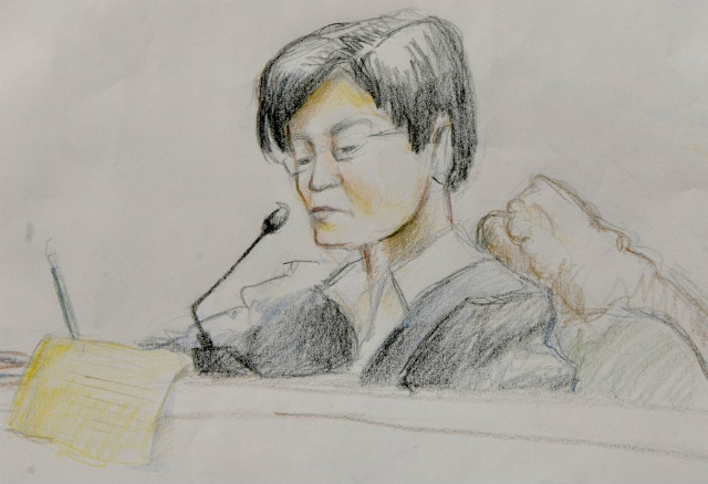 DECISION SOON. This court room artist sketch shows regional trial court judge Jocelyn Solis-Reyes presiding over the first court appearance of Andal Ampatuan Jr, the prime suspect in the Philippines' worst political massacre in history, in 2010. File photo from Ala Paredes/Supreme Court/AFP