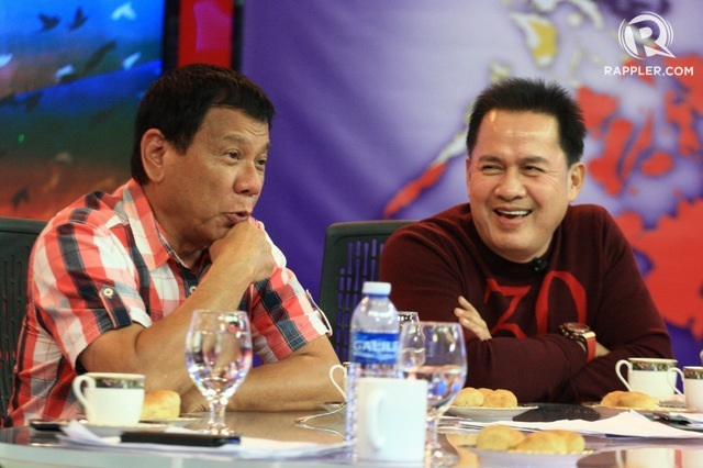 'LONG-TIME' FRIENDS. Rody Duterte and Pastor Apollo Quiboloy catch up at the end of Election Day in 2016 in Davao City. File photo by Manman Dejeto/Rappler