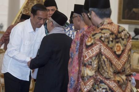 Presiden Joko Widodo berjabat tangan dengan Ketua Umum Majelis Ulama Indonesia (MUI) KH. Ma'ruf Amin di Istana Merdeka, Jakarta, Selasa (1/11). Foto oleh Widodo S. Jusuf/ANTARA