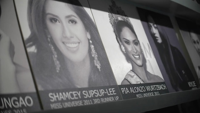 PORTRAITS. At Jonas Gaffud's office, portraits of beauty queens he trained are displayed. Rappler photo