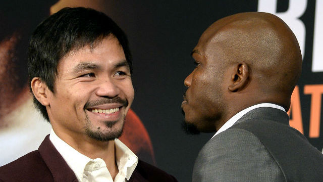 TAKING A BREATHER. Manny Pacquiao sits out another training session ahead of his fight with Timothy Bradley Jr. File photo by Mike Nelson/EPA