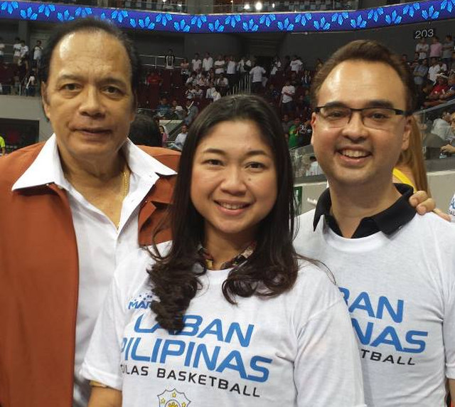 COURT. Alan and Lani Cayetano are usually photographed in Gilas Pilipinas games. Photo from Alan Cayetano's Facebook page