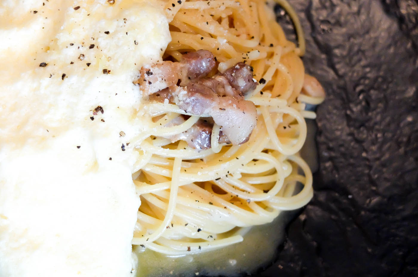 PASTA. Salvatore Cuomou2019s take on the traditional carbonara is light and very tasteful