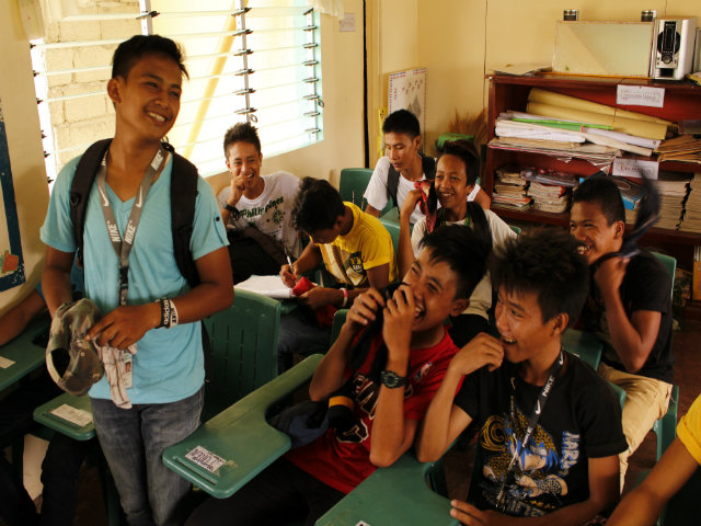 CONVERSATIONS. Students at the Maayon National High School attend an 'Usapan Series' event about managing teen relationships. Image courtesy of Ana P. Santos