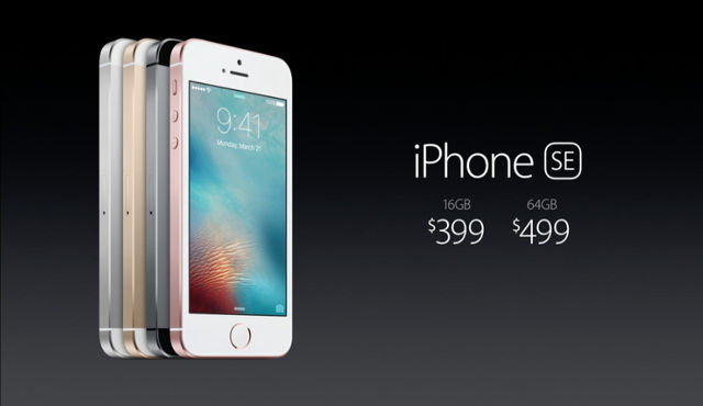 IPHONE SE. The iPhone SE's pricing scheme. Screen shot from Apple livestream