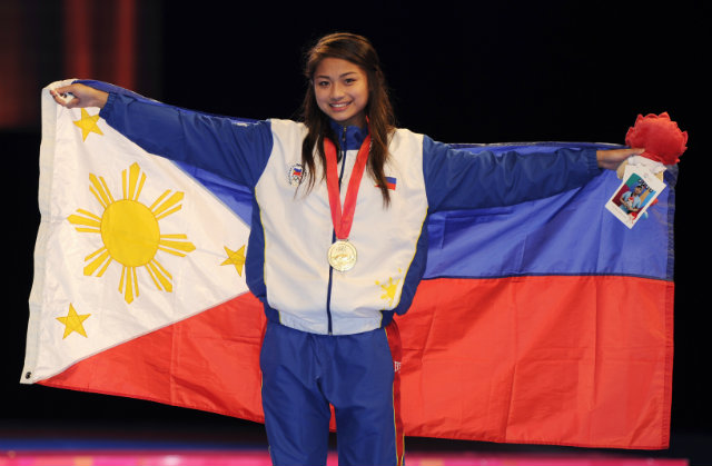 Pauline Lopez won gold in the women's Taekwondo under-57kg competition. Photo by Singapore SEA Games Organising Committee/Action Images via Reuters