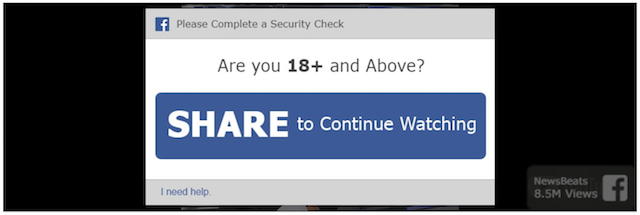 Screenshot of prompt for online users to log in to Facebook to continue watching the video