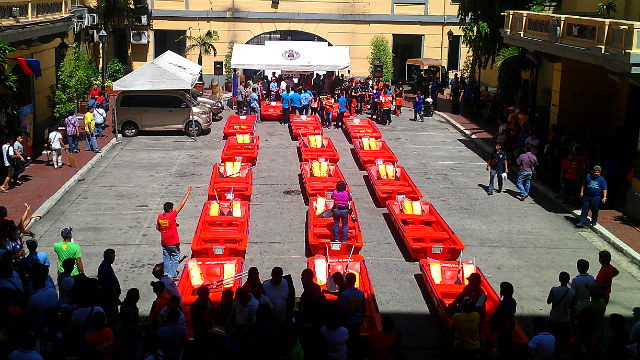 WE ARE READY. Manila city prepares the flood boats for a turnover ceremony in Manila City hall. Photo by Vincent Bascos