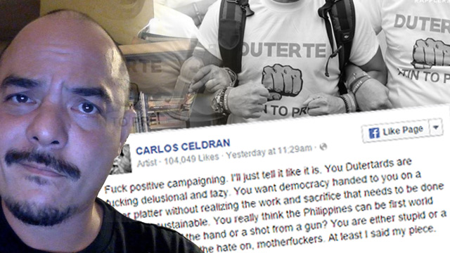 FED UP. Carlos Celdran wrote a scathing post against Rodrigo Duterte's supporters, criticizing them for being 'delusional and lazy.' Image courtesy of Alyssa Arizabal, photos taken from Celdran's Facebook page
