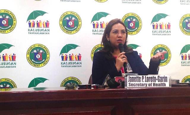 RH BUDGET CUT. Health Secretary Janette Garin holds a news briefing on the RH budget cut on January 13, 2016. Photo by Jee Geronimo/Rappler