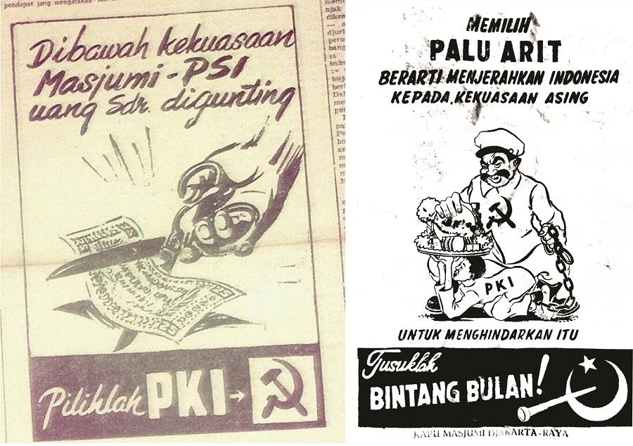PERANG MEDIA. Media PKI dan Masyumi berlomba-lomba mengabarkan berita yang mendukung gerakan masing-masing partai. Foto oleh Majalah Historia