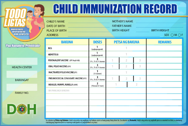 SAFE. A child immunization record given by the Department of Health. Photo from DOH website
