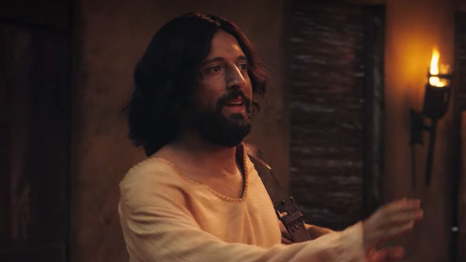 STILL UP. The Brazilian Netflix film 'The First Temptation of Christ' depicts Jesus returning home with his boyfriend Orlando after 40 days in the desert. Screenshot from trailer