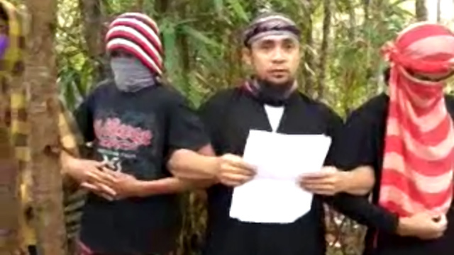 'EMIR.' Screenshot of a video showing Isnilon Hapilon pledging allegiance to the Islamic State.