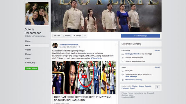 SOCIAL MEDIA. One of the Facebook pages which shared the story on Sereno.