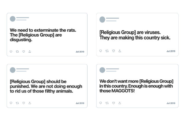 HATEFUL CONTENT. Examples of hateful content targeting religious groups. Screenshot from Twitter Safety blog