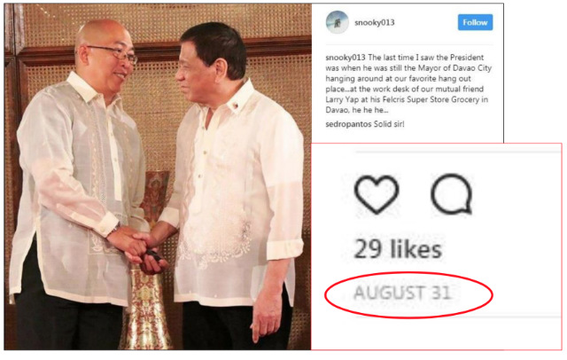 PHOTO IN PALACE. This photo, also presented by Senator Antonio Trillanes IV in a Senate privilege speech, shows President Rodrigo Duterte and Daniel 'Snooky' Cruz shaking hands in Malacau00f1ang. Photo from Trillanes' PowerPoint presentation