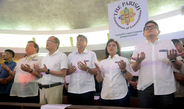 LP BUT NOT OPPOSITION. In this file photo, Robredo is joined by Senator Franklin Drilon, former president Benigno Aquino III, and Senators Francis Pangilinan and Paolo Benigno Aquino IV during a solidarity mass on the martial law declaration anniversary. File photo by Arnold Almacen